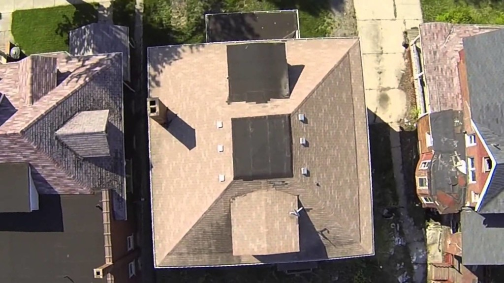 Aerial roof inspection by drone