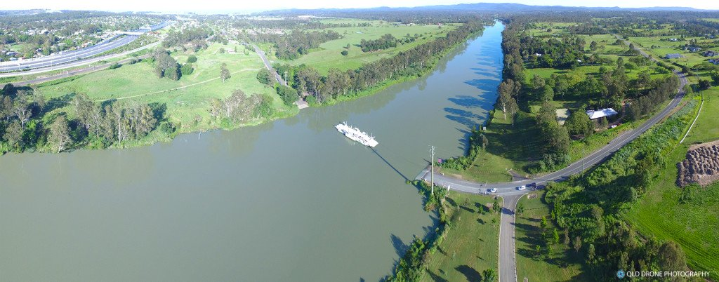 Moggill River and Ferry aerial panorama