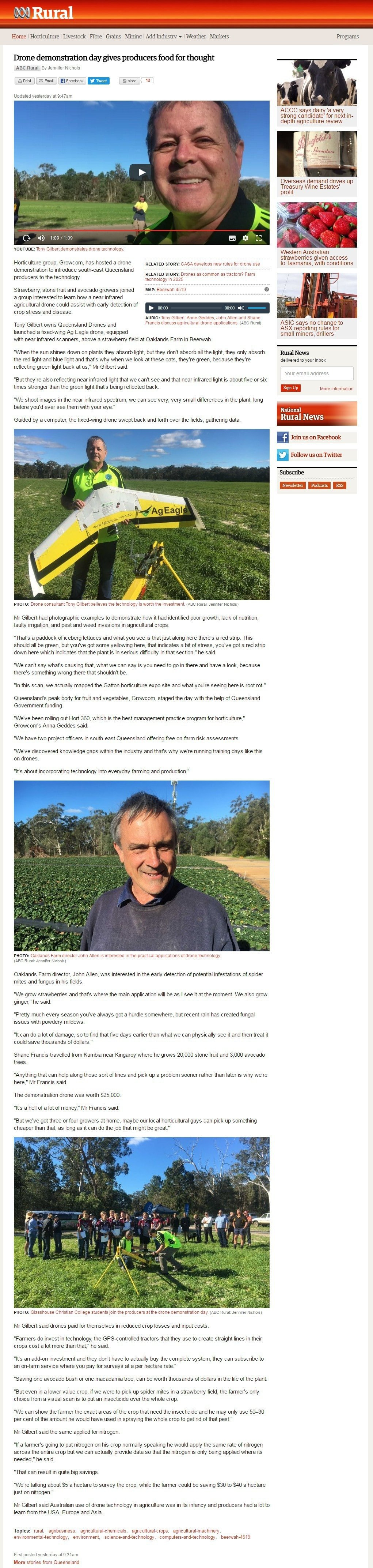 ABC Rural post about Beerwah strawberry UAV demonstration