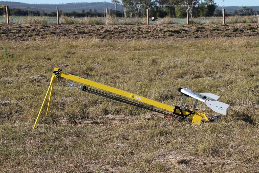 The Ag Eagle precision agricultural drone on its launcher at Laidley