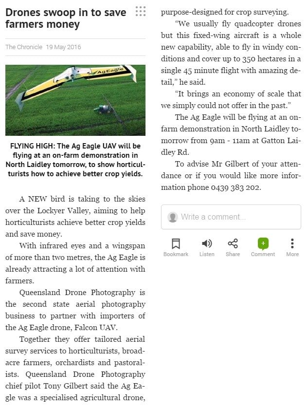 Laidley agricultural drone demo Toowoomba Chronicle