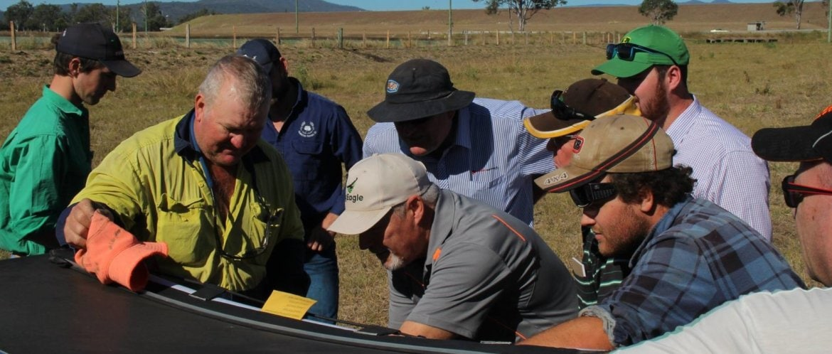 Farmers at our UAV agriculture services demo day in Laidley