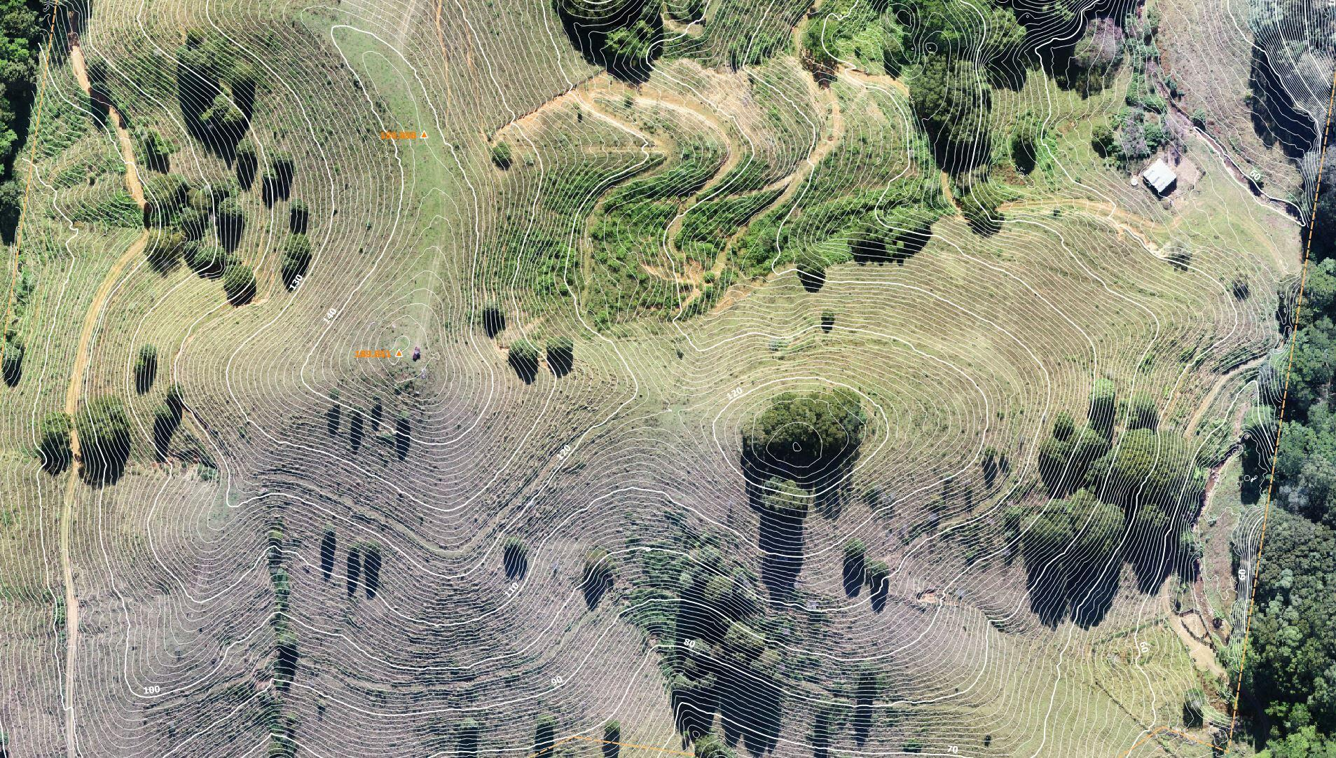 aerial survey mapping with elevation contours and datum heights