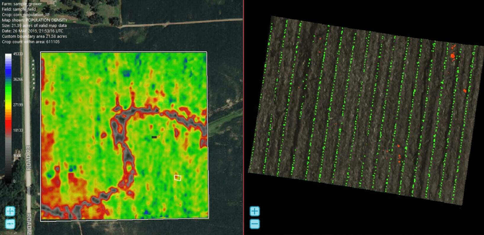 Multispectral plant population data