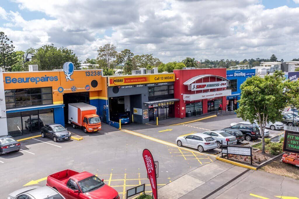 drone photography of a commercial shopping centre