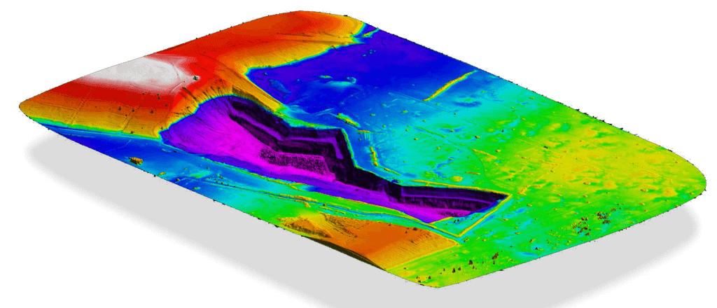 Digital 3D terrain model captured using PPK precision aerial mapping drone