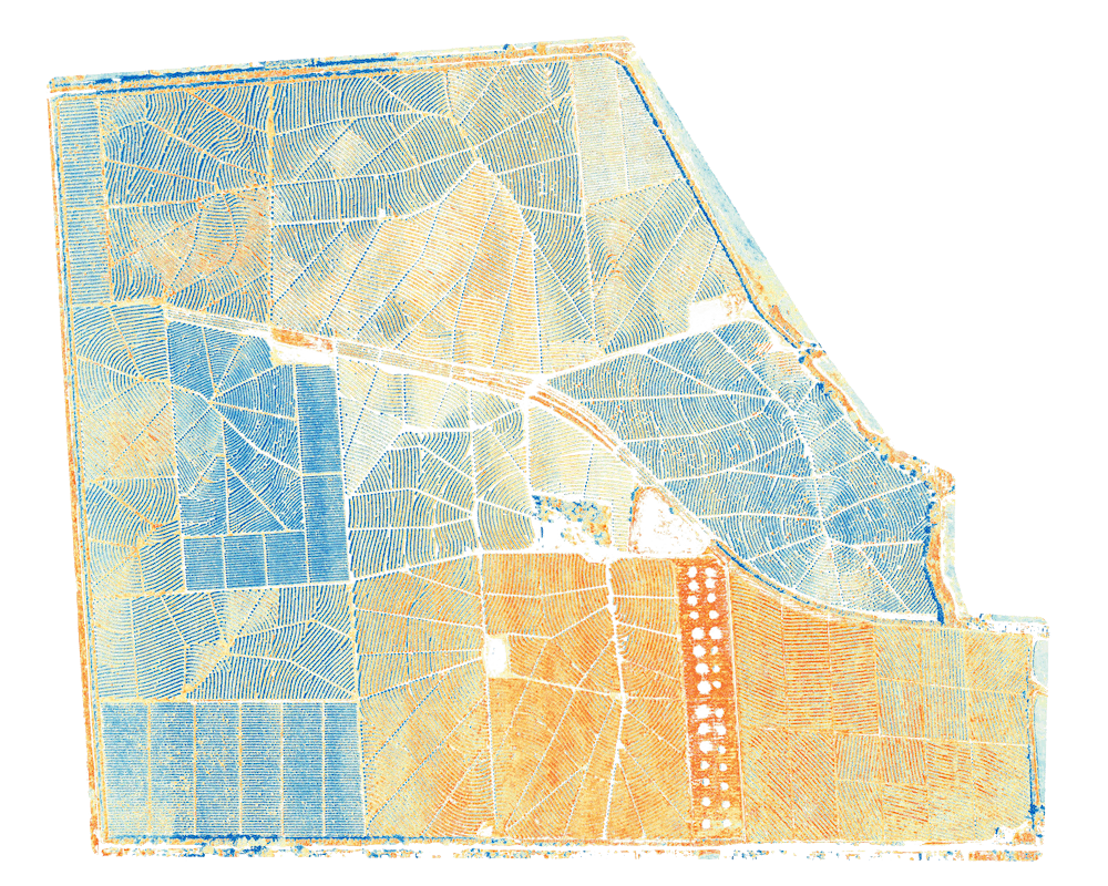 Multispectral map of tree plantation using Wingtra