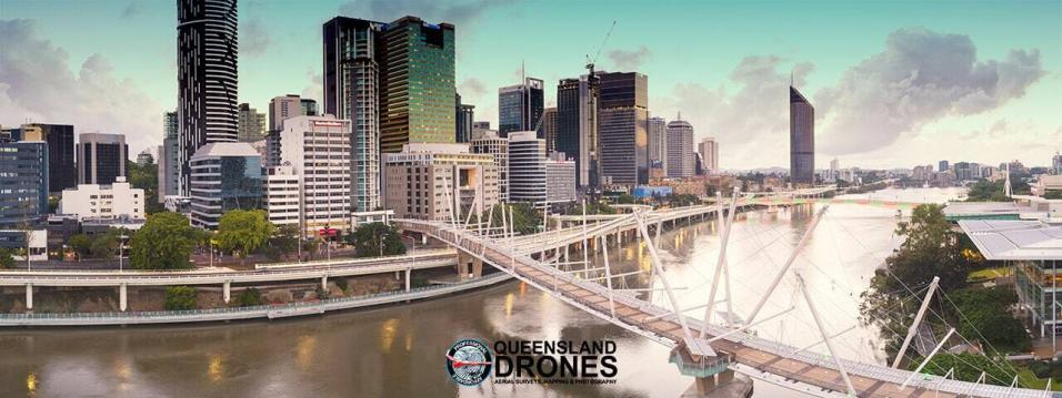 Aerial drone photography of Brisbane CBD